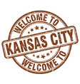 Welcome to kansas city brown round vintage stamp vector image