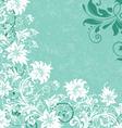 Aquamarine white floral swirls wedding invitation vector image