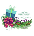 Christmas present with purple bow and fir branch vector image