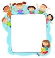 kids peeping behind placard vector image