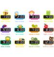 12 colorful digital clocks vector image