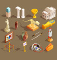 museum artifacts isometric collection vector image