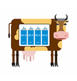 Spotted cow with milk Packages of milk the cow as vector image