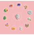 Business management flat design icons set vector image