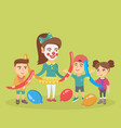 children and animator playing with balloons vector image