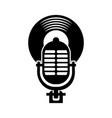 microphone music vinyl disk vintage cartoon vector image