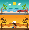 Romantic lover watching sunset and sport car in vector image