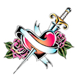 sword heart ribbon leaves vector image