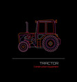 tractor neon sign vector image
