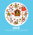 2018 dog year cartoon character poster for vector image