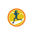 Female Triathlete Runner Running Retro vector image vector image
