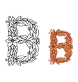 Letter B in floral and foliate font vector image vector image