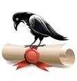 Black raven and diploma vector image