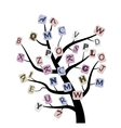abstract tree with letters vector image vector image
