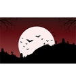 Silhouette of Tomb and bat Halloween vector image
