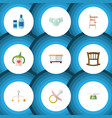 Flat icon kid set of cream with lotion nipple vector image