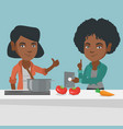 women looking for a recipe on a digital tablet vector image