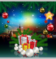 Christmas greeting with panorama of city and gifts vector image