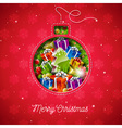 Merry Christmas design with sewing glass ball vector image vector image