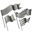 Racing flags on metal poles vector image