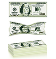 set dollar bills vector image vector image