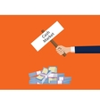 cash market stack money with businessman holding a vector image