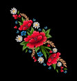 embroidery stitches with flowers fashion vector image