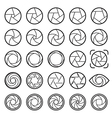 Lens aperture icons vector image