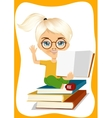 little girl showing an open book vector image