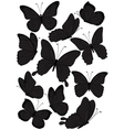 Silhouette butterflies vector image