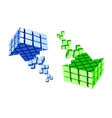 Arrow icon made of cubes vector image vector image