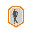 Marathon Runner Running Front Shield Retro vector image vector image