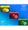 Infographic with briefcase on blue background vector image vector image