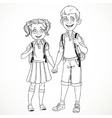 Boy and girl with a school bag holding hands line vector image