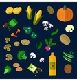 Flat fresh and canned vegetables icons vector image