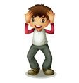 Boy holding head vector image vector image