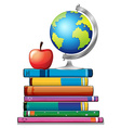 Books and globe vector image