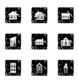 Building icons set grunge style vector image