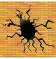 crack on a brick background vector image