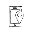 figure smartphone technology with location map vector image