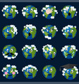 planet earth with clouds emoticons se vector image