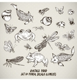 Set of vintage pond water animals elements vector image