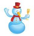 Snowman with wineglass vector image vector image