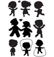 nine children black silhouettes vector image vector image