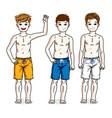 cute little boys children standing wearing beach vector image vector image