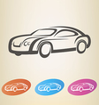 modern car outlined symbol vector image vector image