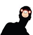Monkey head on man head vector image