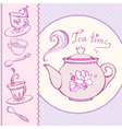 teatime greeting card with mugs vector image