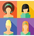 four flat girls hairstyle vector image