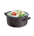 Appetizing vegetable soup in a pot vector image